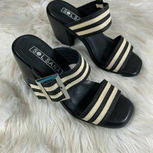 SOL SANA New Size 38 Slip On Slide Chunky Heel NWO